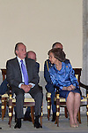 11.07.2012. King Juan Carlos of Spain and Queen Sofia of Spain attends  to the Youth Cultural Program Participants ´Route Quetzal BBVA 2012´ at the Royal Palace of El Pardo. In the image King Juan Carlos and Queen Sofia (Alterphotos/Marta Gonzalez)