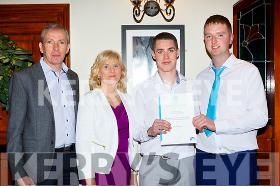 Daniel GAvin Abbeyfeale and Pat Mullane Athea with their  cerificates Advanced Certificate Craft Presentation Ceremony in the Killarney Heights Hotel on Friday evening l-r: Liz Corbett , Ger Gavin,  Daniel Gavin, Pat Mullane