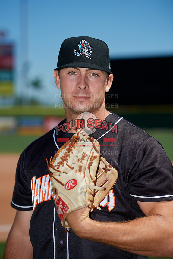 Jupiter Hammerheads pitcher Sam Perez (13) poses for a photo before a game against the Clearwater Threshers on April 11, 2018 at Spectrum Field in Clearwater, Florida.  Jupiter defeated Clearwater 6-4.  (Mike Janes/Four Seam Images)