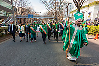 "A man dressed as St. Patrick leads the 27th Saint .Patrick's Day Parade in Omotesando, Tokyo, Japan. Sunday March 17th 2019. Started in 1992 by the Irish Network, Japan, and supported by the Embassy of Ireland,; the parade, along with the ""I Love Ireland Festival"" held nearby is Asia's  largest Irish event."