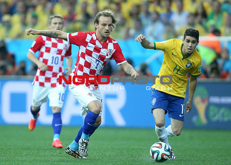 2014 Fifa World Cup opening game from group A against Brazil and Croatia.<br /> Ivan Rakitic, Oscar<br /> <br /> Foto &copy;  nph / PIXSELL / Sajin Strukic