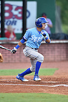 Burlington Royals shortstop Nicky Lopez (4) swings at a pitch during game against the Elizabethton Twins at Joe O'Brien Field on August 24, 2016 in Elizabethton, Tennessee. The Royals defeated the Twins 8-3. (Tony Farlow/Four Seam Images)