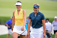 Michelle Wie (USA) and Suzann Pettersen (NOR) share a laugh on their way to the 7th tee during Thursday's first round of the 72nd U.S. Women's Open Championship, at Trump National Golf Club, Bedminster, New Jersey. 7/13/2017.<br /> Picture: Golffile | Ken Murray<br /> <br /> <br /> All photo usage must carry mandatory copyright credit (&copy; Golffile | Ken Murray)