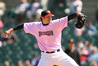 2007:  Scott Baker of the Rochester Red Wings delivers a pitch at Frontier Field during an International League baseball game. Photo By Mike Janes/Four Seam Images