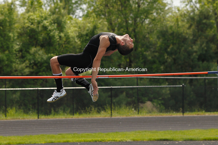 Woodland, CT- 21 May 2013-052113CM02-  Woodland's Mike Lang won the high jump during the NVL Track and Field Championships at Woodland High School Tuesday afternoon.    Christopher Massa Republican-American