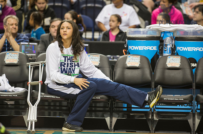 Apr. 5, 2014; Fighting Irish forward Natalie Achonwa watches teammates during practice at the Bridgestone Arena in Nashville, Tenn. Notre Dame Fighting Irish square off against Maryland Terrapins Sunday night in the national semifinal of the NCAA Final Four tournament.  Photo by Barbara Johnston/University of Notre Dame