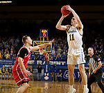 BROOKINGS, SD - FEBRUARY 23: Noah Freidel #11 of the South Dakota State Jackrabbits shoots a three pointer against the South Dakota Coyotes Sunday at Frost Arena in Brookings, SD. (Photo by Dave Eggen/Inertia)