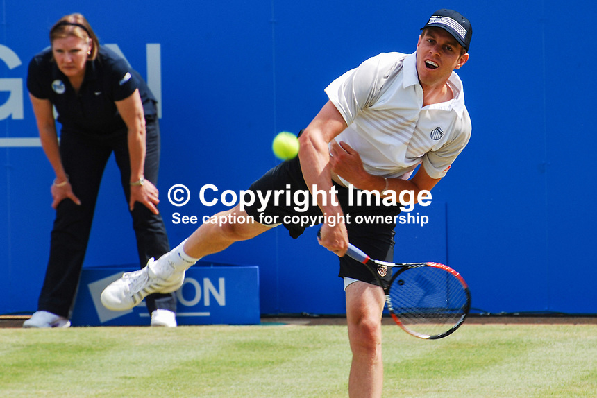 Sam Querry, USA, on his way to beating fellow American Mardy Fish in straight sets 7-6 7-5 in the final of the AEGON Championships at Queen's Club, London, UK, on Sunday, 13 June 2010. Ref: 201006134300..Copyright Image from Victor Patterson, 54 Dorchester Park, Belfast, UK, BT9 6RJ..Tel: +44 28 9066 1296.Mob: +44 7802 353836.Voicemail +44 20 8816 7153.Skype: victorpattersonbelfast.Email: victorpatterson@mac.com.Email: victorpatterson@ireland.com (back-up)..IMPORTANT: If you wish to use this image or any other of my images please go to www.victorpatterson.com and click on the Terms & Conditions. Then contact me by email or phone with the reference number(s) of the image(s) concerned.