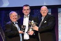 Shane Farrell, Bravo Musical Society, Loughrea, County Galway who won Best Musical Director / Sullivan Section for the show 'Sweeney Todd' receiving the trophy from on  left, Colm Moules, President, AIMS and Seamus Power, Vice-President at the Association of Irish Musical Societies annual awards in the INEC, KIllarney at the weekend.<br /> Photo: Don MacMonagle -macmonagle.com<br /> <br /> <br /> <br /> repro free photo from AIMS<br /> Further Information:<br /> Kate Furlong AIMS PRO kate.furlong84@gmail.com