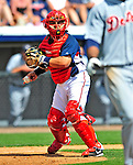 15 March 2009: Washington Nationals' catcher Javier Valentin in action during a Spring Training game against the Detroit Tigers at Space Coast Stadium in Viera, Florida. The Tigers shut out the Nationals 3-0 in the Grapefruit League matchup. Mandatory Photo Credit: Ed Wolfstein Photo