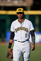 Bradenton Marauders second baseman Alfredo Reyes (2) warms up before a game against the Tampa Tarpons on April 25, 2018 at LECOM Park in Bradenton, Florida.  Tampa defeated Bradenton 7-3.  (Mike Janes/Four Seam Images)
