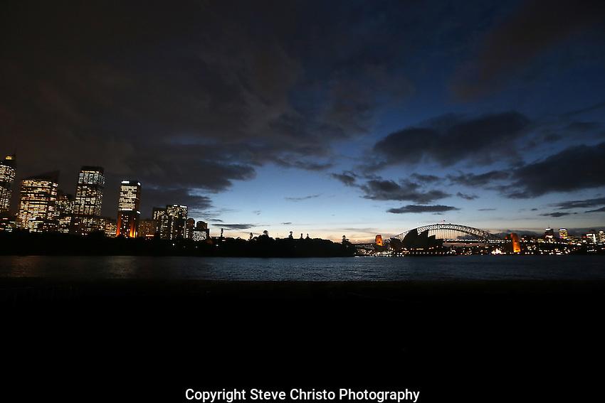 Sydney Harbour Bridge the Opera House and city buildings. Sydney, Australia. Monday May 27th 2013. Photo:( Steve Christo).