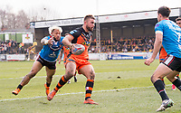 Picture by Allan McKenzie/SWpix.com - 11/03/2018 - Rugby League - Betfred Super League - Castleford Tigers v Salford Red Devils - the Mend A Hose Jungle, Castleford, England - Castleford's Mike McMeeken fends off Salford's Junior Sa'u.