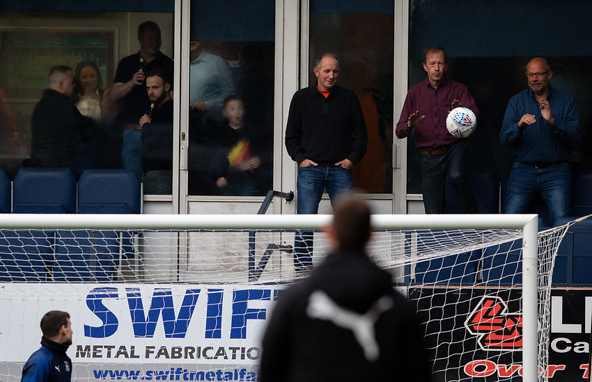 Luton Town fans dodge flying balls during the warm up<br /> <br /> Photographer Alex Dodd/CameraSport<br /> <br /> The EFL Sky Bet Championship - 191123 Luton Town v Leeds United - Saturday 23rd November 2019 - Kenilworth Road - Luton<br /> <br /> World Copyright © 2019 CameraSport. All rights reserved. 43 Linden Ave. Countesthorpe. Leicester. England. LE8 5PG - Tel: +44 (0) 116 277 4147 - admin@camerasport.com - www.camerasport.com