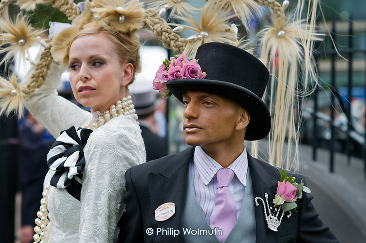 Louis Mariette, bespoke couture hat designer, outside the Royal Enclosure at Ascot racecourse on Ladies Day.