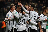 celebrate the goal, Torjubel zum 2:1 Leon Goretzka (Deutschland, Germany) mit Serge Gnabry (Deutschland Germany), Jonas Hector (Deutschland Germany), Joshua Kimmich (Deutschland Germany) - 19.11.2019: Deutschland vs. Nordirland, Commerzbank Arena Frankfurt, EM-Qualifikation DISCLAIMER: DFB regulations prohibit any use of photographs as image sequences and/or quasi-video.