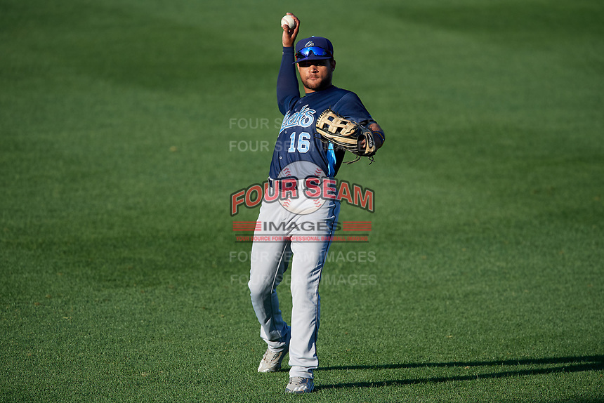 Corpus Christi Hooks left fielder Jason Martin (16) throws during a game against the Springfield Cardinals on May 30, 2017 at Hammons Field in Springfield, Missouri.  Springfield defeated Corpus Christi 4-3.  (Mike Janes/Four Seam Images)