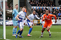 Blackpool's Nathan Delfouneso attacking a corner kick <br /> <br /> Photographer Andrew Kearns/CameraSport<br /> <br /> The EFL Sky Bet League Two - Bristol Rovers v Blackpool - Saturday 2nd March 2019 - Memorial Stadium - Bristol<br /> <br /> World Copyright © 2019 CameraSport. All rights reserved. 43 Linden Ave. Countesthorpe. Leicester. England. LE8 5PG - Tel: +44 (0) 116 277 4147 - admin@camerasport.com - www.camerasport.com