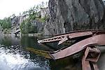 Crane wreckage at the edge of Hodge Close Quarry