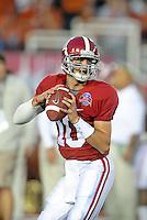 Jan 7, 2010; Pasadena, CA, USA; Alabama Crimson Tide quarterback (10) A.J, McCarron against the Texas Longhorns during the 2010 BCS national championship game at the Rose Bowl. Alabama defeated Texas 37-21. Mandatory Credit: Mark J. Rebilas-