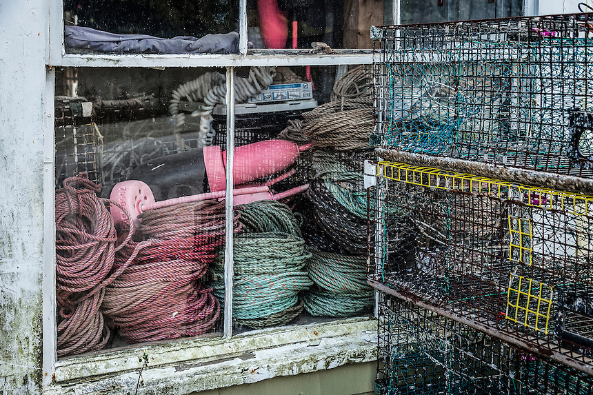 Lobster traps, buoys and nautical rope, Maine, USA.