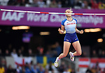 Holly Bradshaw (GBR) celebrates in the womens pole vault. IAAF world athletics championships. London Olympic stadium. Queen Elizabeth Olympic park. Stratford. London. UK. 06/08/2017. ~ MANDATORY CREDIT Garry Bowden/SIPPA - NO UNAUTHORISED USE - +44 7837 394578