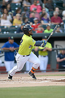 Left fielder Walter Rasquin (22) of the Columbia Fireflies bats in a game against the Charleston RiverDogs on Saturday, April 6, 2019, at Segra Park in Columbia, South Carolina. Columbia won, 3-2. (Tom Priddy/Four Seam Images)