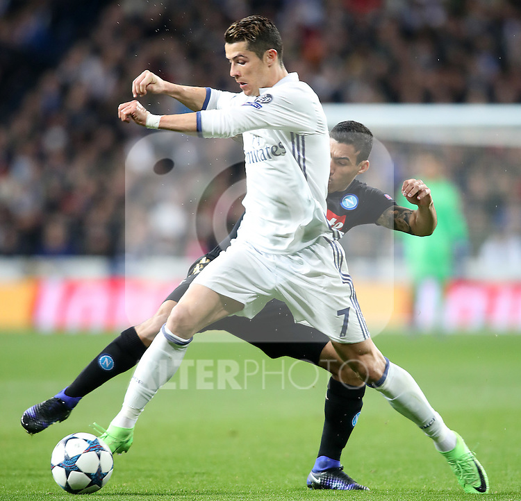 Real Madrid's Cristiano Ronaldo (f) and SSC Napoli's Allan during Champions League 2016/2017 Round of 16 1st leg match. February 15,2017. (ALTERPHOTOS/Acero)