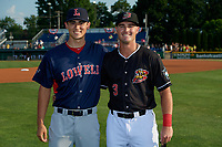 Lowell Spinners Noah Song - a member of NAVY - and Batavia Muckdogs Nic Ready - a member of Air Force - before a NY-Penn League game on July 10, 2019 at Dwyer Stadium in Batavia, New York.  Batavia defeated Lowell 8-6.  (Mike Janes/Four Seam Images)