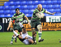 READING, ENGLAND : Matthew Garvey of London Irish charges forward during the Amlin Challenge Cup match between London Irish and Bordeaux-Begles at Madejski Stadium on January 18, 2013 in Reading, England.