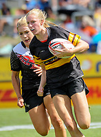 Women's University Sevens final between Canterbury and Waikato Universities. Day two of the 2018 HSBC World Sevens Series Hamilton at FMG Stadium in Hamilton, New Zealand on Saturday, 3 February 2018. Photo: Dave Lintott / lintottphoto.co.nz