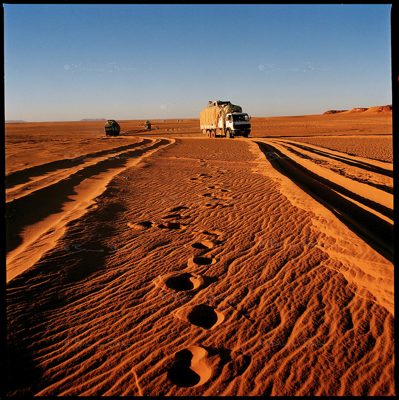 Sahara desert, Libya-Chad, November/December 2004..Every week, a convoy of 40 privately owned Libyan trucks loaded by the WFP with about 1000 metric tons of western food aid cross 2500 km of deep desert across Libya and Chad to reach more than 200 000 refugees from Darfur in camps near the Sudanese border. Each truck carrying 25 metric tons of food aid plus his gasoil and supplies weighs about 40 metric tons; it sinks deeply in the soft sand...