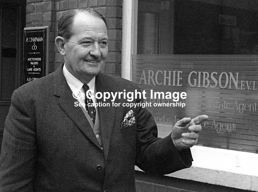 Archie Gibson, estate agent, auctioneer, Portadown, Co Armagh, N Ireland, UK, October 1965, 196510000021a<br /> <br /> Copyright Image from Victor Patterson, 54 Dorchester Park, Belfast, UK, BT9 6RJ<br /> <br /> t1: +44 28 9066 1296 (from Rep of Ireland 048 9066 1296)<br /> t2: +44 28 9002 2446 (from Rep of Ireland 048 9002 2446)<br /> m: +44 7802 353836<br /> <br /> e1: victorpatterson@me.com<br /> e2: victorpatterson@gmail.com<br /> <br /> www.victorpatterson.com<br /> <br /> IMPORTANT: Please see my Terms and Conditions of Use at www.victorpatterson.com
