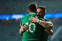 Andrew Porter of Ireland embraces team-mate Johnny Sexton. Natwest 6 Nations match between England and Ireland on March 17, 2018 at Twickenham Stadium in London, England. Photo by: Patrick Khachfe / Onside Images