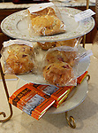A variety of scones are served on tiered trays at the Queen's Cuisine Tea Room in Edwardsville.