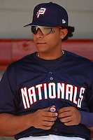 Catcher Erick San Pedro (5) of the Potomac Nationals, Class A Carolina League affiliate of the Washington Nationals, before a game on September 5, 2005, at Pfitzner Stadium in Woodbridge, Virginia. (Tom Priddy/Four Seam Images)