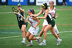 TAMPA, FL - MAY 20: Bryanna Fazio #14 and Monica Sanna #5 of the Le Moyne Dolphins defend Emily Santoli #10 of the Florida Southern Mocs during the Division II Women's Lacrosse Championship held at the Naimoli Family Athletic and Intramural Complex on the University of Tampa campus on May 20, 2018 in Tampa, Florida. Le Moyne defeated Florida Southern 16-11 for the national title. (Photo by Jamie Schwaberow/NCAA Photos via Getty Images)