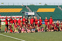 Rochester, NY - Friday June 24, 2016: Western New York Flash Starting XI prior to a regular season National Women's Soccer League (NWSL) match between the Western New York Flash and the Boston Breakers at Rochester Rhinos Stadium.