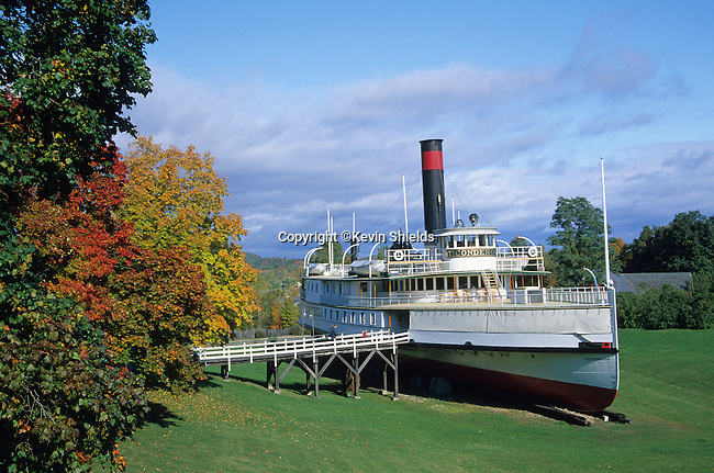 Passenger vessel Ticonderoga on display at the Shelburne Museum, Shelburne, Vermont, USA