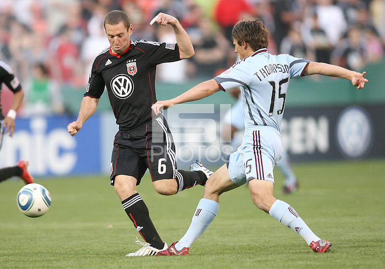 Kurt Morsink #6 of D.C. United moves the ball away from Wells Thompson #15 of the Colorado Rapids during an MLS match on May 15 2010, at RFK Stadium in Washington D.C. Colorado won 1-0.