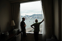 Joe and Annie admiring the view from Joe and Karen's hotel room Hong Kong, China