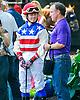 Miss Modela with Jennifer Miller aboard in the paddock before the Longines International Ladies Fegentri Amateur race at Delaware Park on 6/8/15