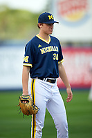 Michigan Wolverines relief pitcher Michael Hendrickson (30) during the second game of a doubleheader against the Canisius College Golden Griffins on February 20, 2016 at Tradition Field in St. Lucie, Florida.  Michigan defeated Canisius 3-0.  (Mike Janes/Four Seam Images)