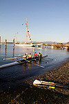 Port Townsend, Rat Island Rowing and Sculling Club, rowers launching racing shells, Olympic Peninsula, Washington State, Pacific Northwest, USA,