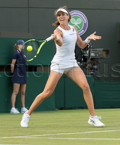 July 3rd 2017, All England Lawn Tennis and Croquet Club, London, England; The Wimbledon Tennis Championships, Day 1; Johanna Konta (GBR) hits a forehand return to Su Wei Hsieh (TPE)