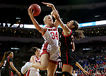 SIOUX FALLS, SD - MARCH 7: Hannah Sjerven #34 of the South Dakota Coyotes takes the ball to the basket against Josie Filer #25 of the Omaha Mavericks at the 2020 Summit League Basketball Championship in Sioux Falls, SD. (Photo by Dave Eggen/Inertia)