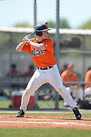 Gettysburg Bullets infielder Mike Elisio (39) at bat during the second game of a doubleheader against the Edgewood Eagles at the Lee County Player Development Complex on March 10, 2014 in Fort Myers, Florida.  Edgewood defeated Gettysburg 5-1.  (Mike Janes/Four Seam Images)