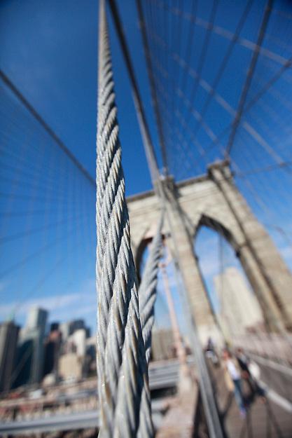 A walk across the Brooklyn Bridge, New York City, on Tuesday, October 18, 2011.