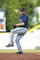 Danville Braves starting pitcher Peyton Williams (54) in action against the Pulaski Yankees at Calfee Park on June 30, 2019 in Pulaski, Virginia. The Braves defeated the Yankees 8-5 in 10 innings.  (Brian Westerholt/Four Seam Images)