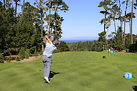 Paul Dunne (IRL) tees off the 1st tee during Thursday's Round 1 of the 2018 AT&amp;T Pebble Beach Pro-Am, held over 3 courses Pebble Beach, Spyglass Hill and Monterey, California, USA. 8th February 2018.<br /> Picture: Eoin Clarke | Golffile<br /> <br /> <br /> All photos usage must carry mandatory copyright credit (&copy; Golffile | Eoin Clarke)